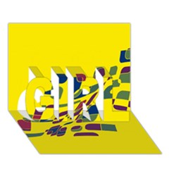 Yellow abstraction GIRL 3D Greeting Card (7x5)