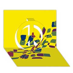 Yellow abstraction Peace Sign 3D Greeting Card (7x5)