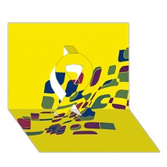 Yellow abstraction Ribbon 3D Greeting Card (7x5)