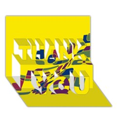 Yellow abstraction THANK YOU 3D Greeting Card (7x5)