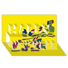Yellow Abstraction Happy New Year 3d Greeting Card (8x4)