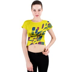 Yellow abstraction Crew Neck Crop Top