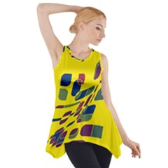 Yellow abstraction Side Drop Tank Tunic