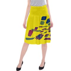 Yellow Abstraction Midi Beach Skirt