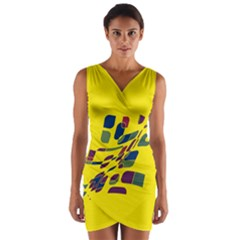 Yellow abstraction Wrap Front Bodycon Dress