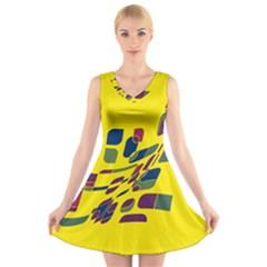 Yellow abstraction V-Neck Sleeveless Skater Dress