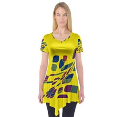 Yellow Abstraction Short Sleeve Tunic