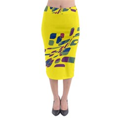 Yellow Abstraction Midi Pencil Skirt