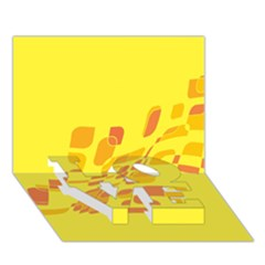 Yellow abstraction LOVE Bottom 3D Greeting Card (7x5)