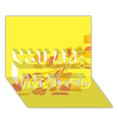 Yellow abstraction YOU ARE INVITED 3D Greeting Card (7x5)
