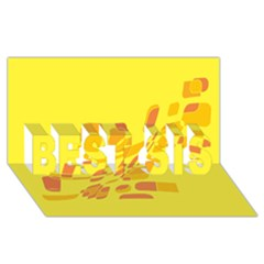 Yellow abstraction BEST SIS 3D Greeting Card (8x4)