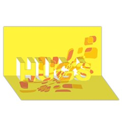 Yellow abstraction HUGS 3D Greeting Card (8x4)
