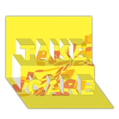 Yellow abstraction TAKE CARE 3D Greeting Card (7x5)