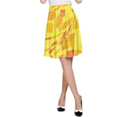 Yellow abstraction A-Line Skirt