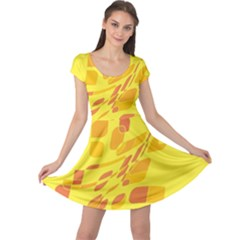 Yellow abstraction Cap Sleeve Dresses