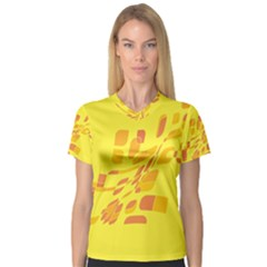 Yellow abstraction Women s V-Neck Sport Mesh Tee