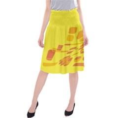 Yellow abstraction Midi Beach Skirt
