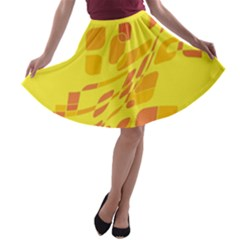 Yellow abstraction A-line Skater Skirt