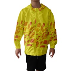 Yellow abstraction Hooded Wind Breaker (Kids)
