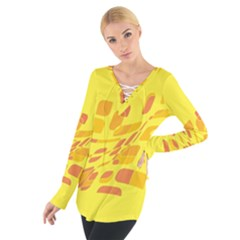 Yellow Abstraction Women s Tie Up Tee