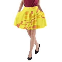 Yellow Abstraction A Line Pocket Skirt