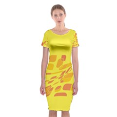 Yellow Abstraction Classic Short Sleeve Midi Dress