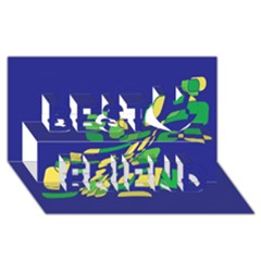 Blue abstraction Best Friends 3D Greeting Card (8x4)