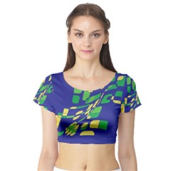 Blue abstraction Short Sleeve Crop Top (Tight Fit)
