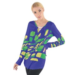 Blue abstraction Women s Tie Up Tee