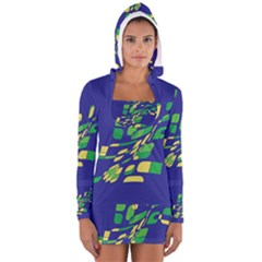 Blue abstraction Women s Long Sleeve Hooded T-shirt