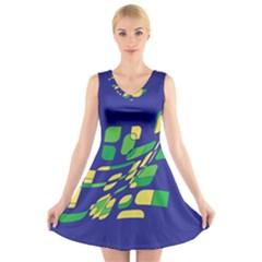 Blue abstraction V-Neck Sleeveless Skater Dress