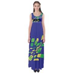Blue abstraction Empire Waist Maxi Dress