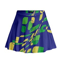 Blue Abstraction Mini Flare Skirt