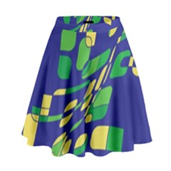 Blue Abstraction High Waist Skirt