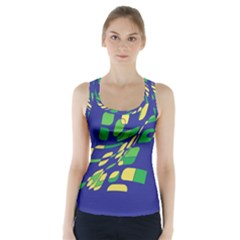 Blue Abstraction Racer Back Sports Top