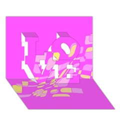 Pink abstraction LOVE 3D Greeting Card (7x5)