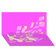Pink abstraction Twin Heart Bottom 3D Greeting Card (8x4)