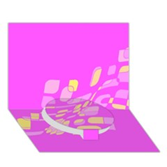 Pink abstraction Circle Bottom 3D Greeting Card (7x5)