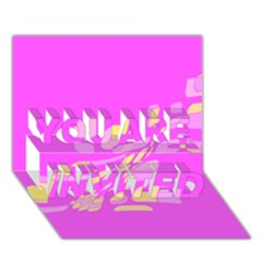 Pink abstraction YOU ARE INVITED 3D Greeting Card (7x5)