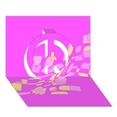 Pink abstraction Peace Sign 3D Greeting Card (7x5)