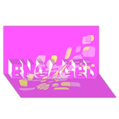 Pink abstraction ENGAGED 3D Greeting Card (8x4)