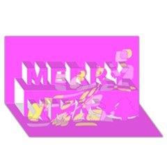 Pink abstraction Merry Xmas 3D Greeting Card (8x4)