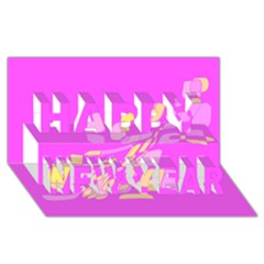 Pink abstraction Happy New Year 3D Greeting Card (8x4)