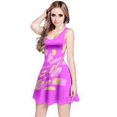Pink abstraction Reversible Sleeveless Dress
