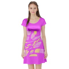 Pink abstraction Short Sleeve Skater Dress
