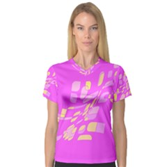 Pink abstraction Women s V-Neck Sport Mesh Tee