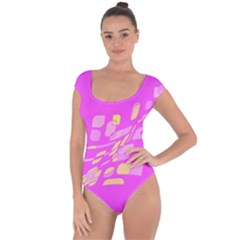 Pink abstraction Short Sleeve Leotard