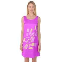 Pink abstraction Sleeveless Satin Nightdress
