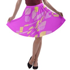 Pink abstraction A-line Skater Skirt