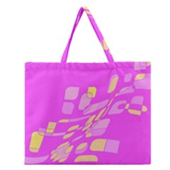 Pink Abstraction Zipper Large Tote Bag
